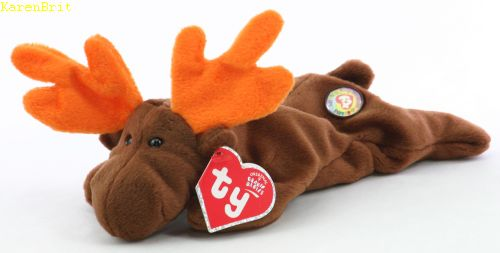 Ty Beanie Babies Chocolate Moose Plush Bean Bag Toy