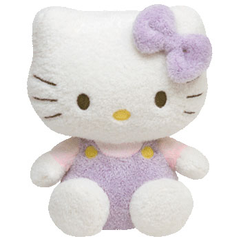 Hello Kitty (lavender overalls, purple fuzzy)
