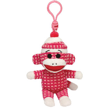 SOCK MONKEY (quilted, pink) Key-clip
