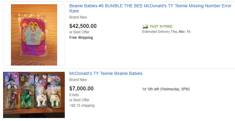 Is Your McDonald Teenie Beanie Babies worth $$$$$ thousands of dollars?
