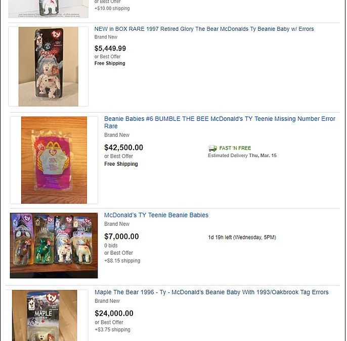 Are Your McDonalds Teenie Beanie Babies worth $$$$$ thousands of dollars?