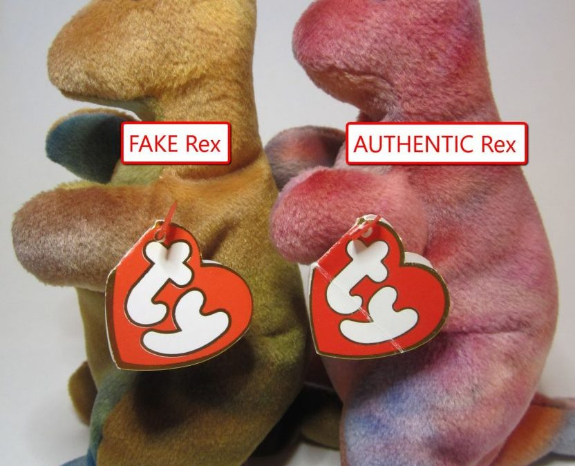 Ty Beanie Baby Rex Fake vs Authentic Comparison