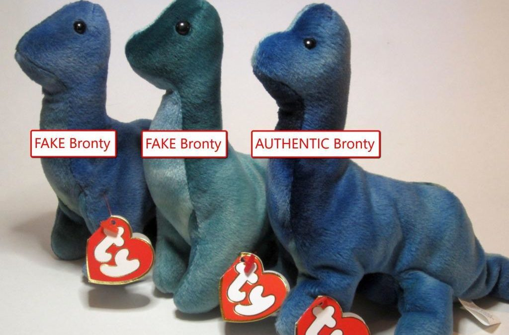 Ty Beanie Baby Bronty Fake vs Authentic Comparison
