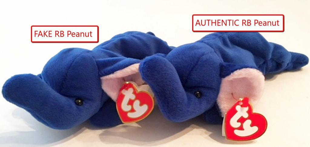 Ty Beanie Baby Royal Blue Peanut Fake vs Authentic Comparison